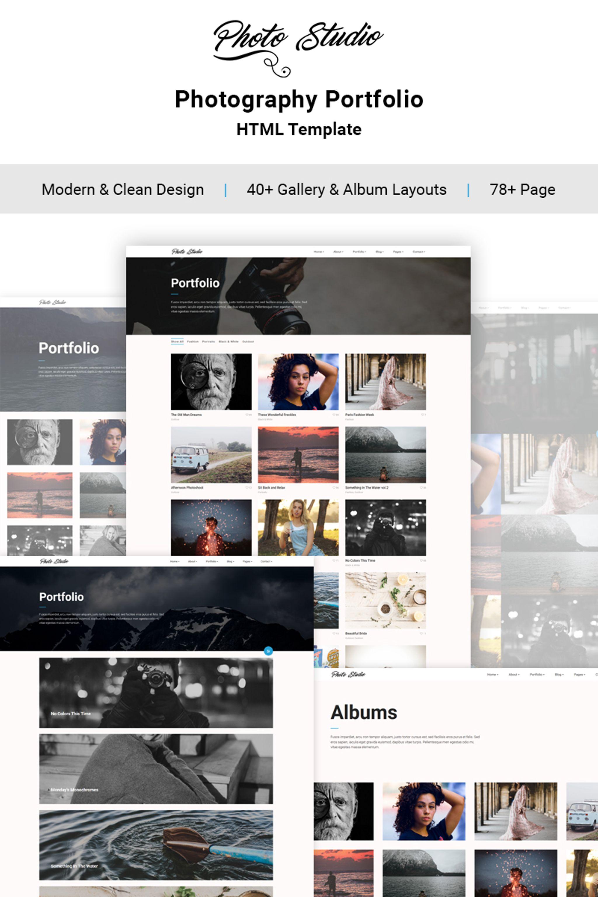 """""""Photo Studio -  Photo Portfolio Creative"""" 响应式网页模板 #65120"""
