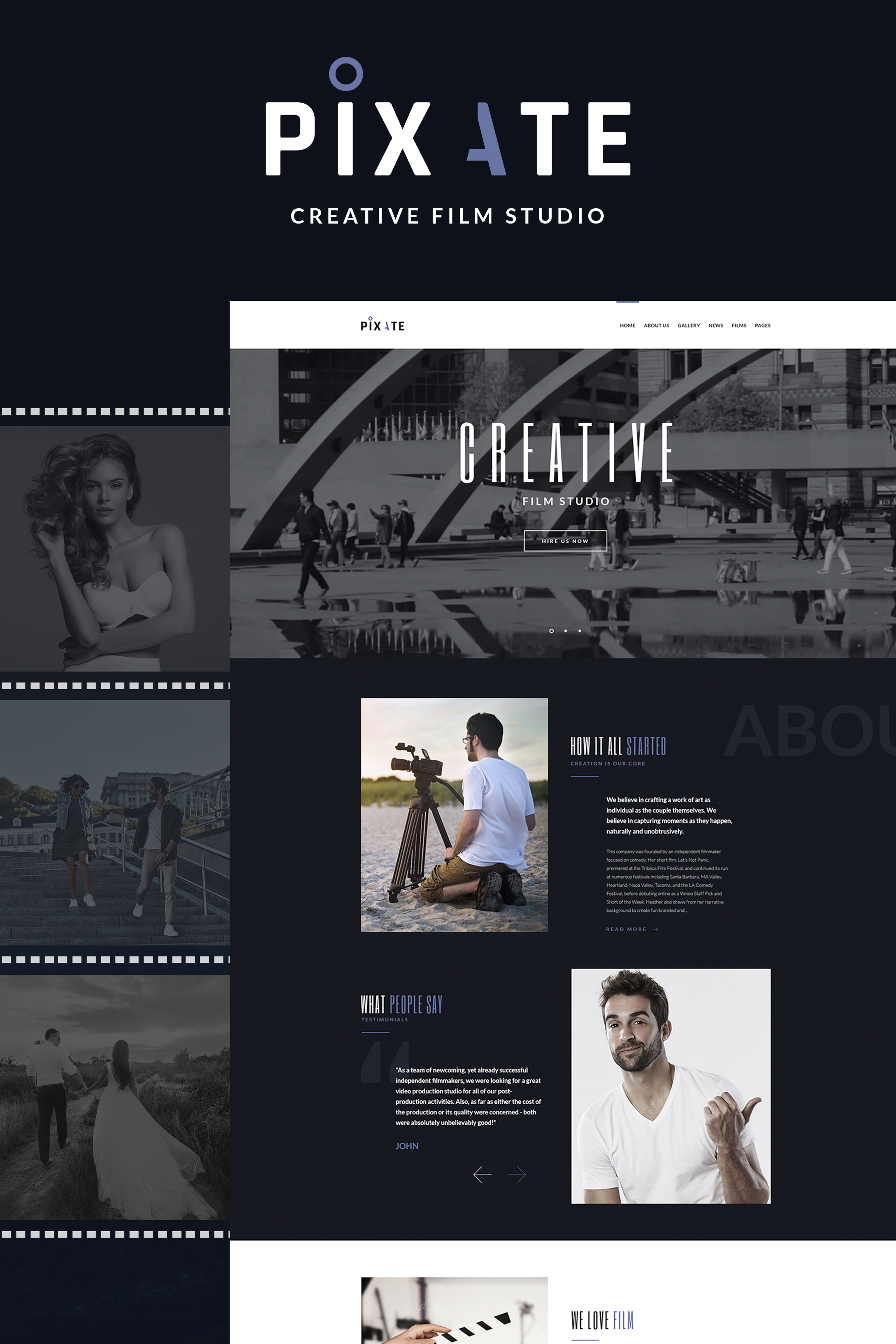 """Pixate - Movie Studio WordPress Theme"" 响应式WordPress模板 #65159 - 截图"
