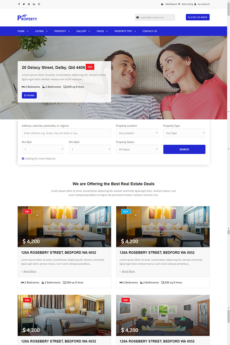 Property - property listing and single property Website Template - screenshot