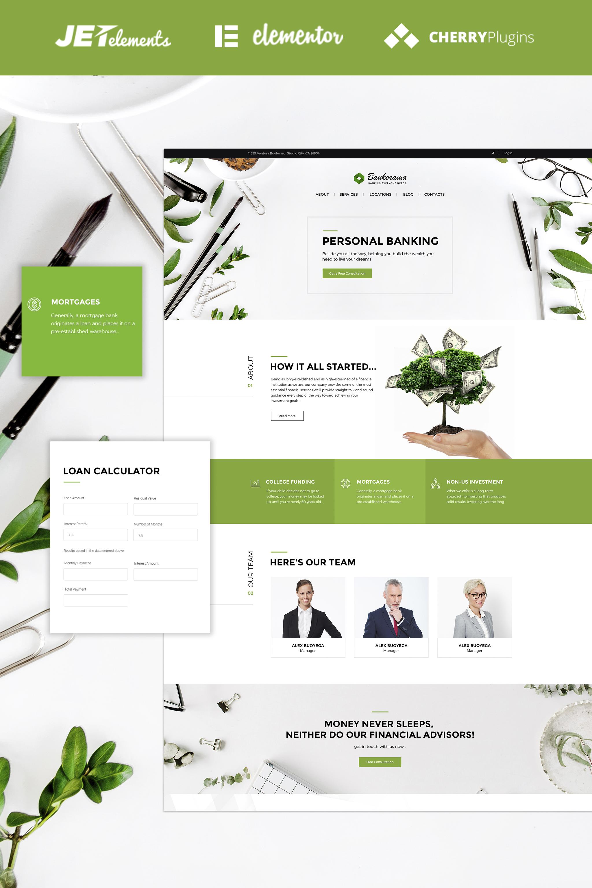 Responsivt Bankorama - Bank WordPress Theme WordPress-tema #65141