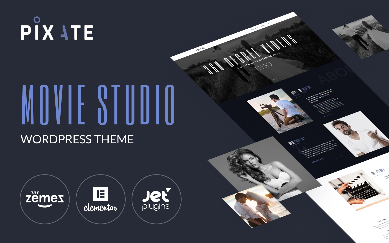 Responsywny motyw WordPress Pixate - Movie Studio WordPress Theme #65159