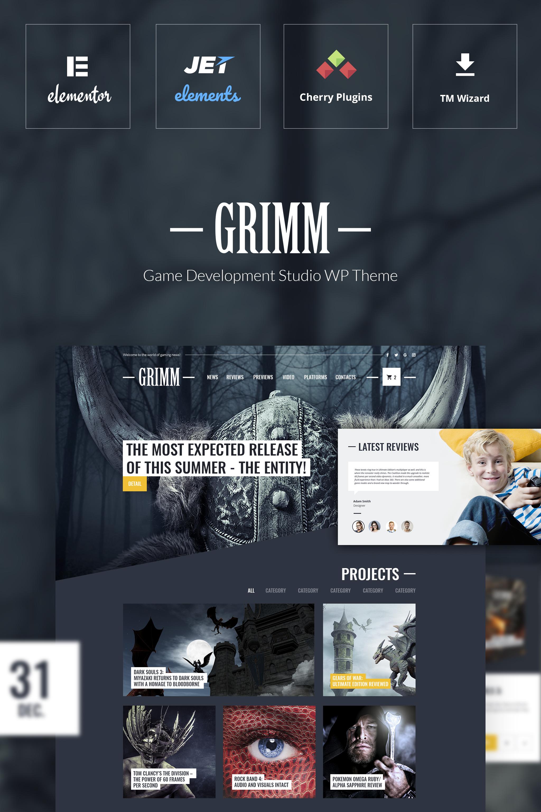 "Responzivní WordPress motiv ""GRIMM - Game Development Studio WordPress Theme"" #65114"