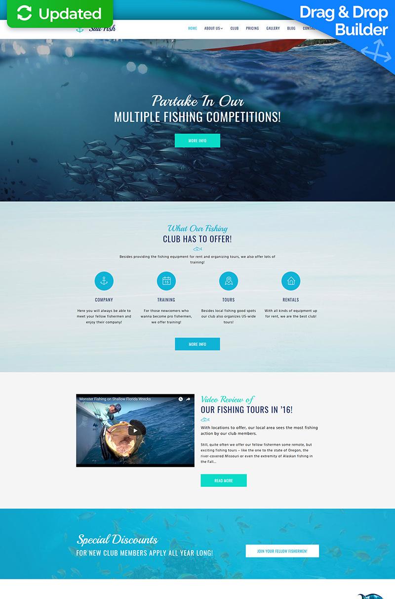 Tema Moto CMS 3 Responsive #65100 per Un Sito di Pesca
