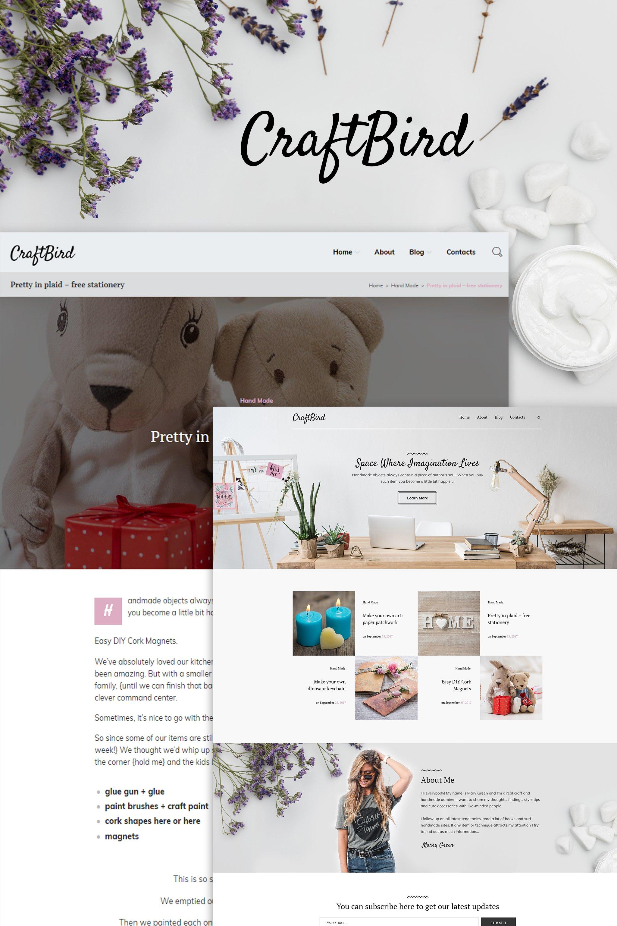 "Tema WordPress Responsive #65154 ""CraftBird - Handmade Artist Personal Blog WordPress Theme"""