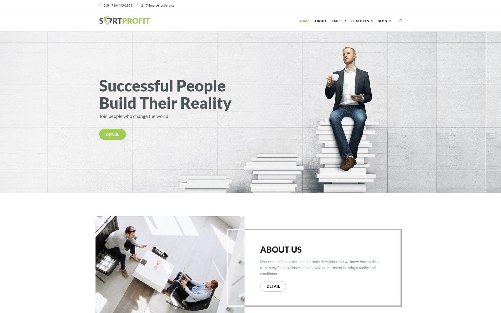"Template WordPress Responsive #65113 ""SortProfit - Business & Finance WordPress Theme"" - screenshot"