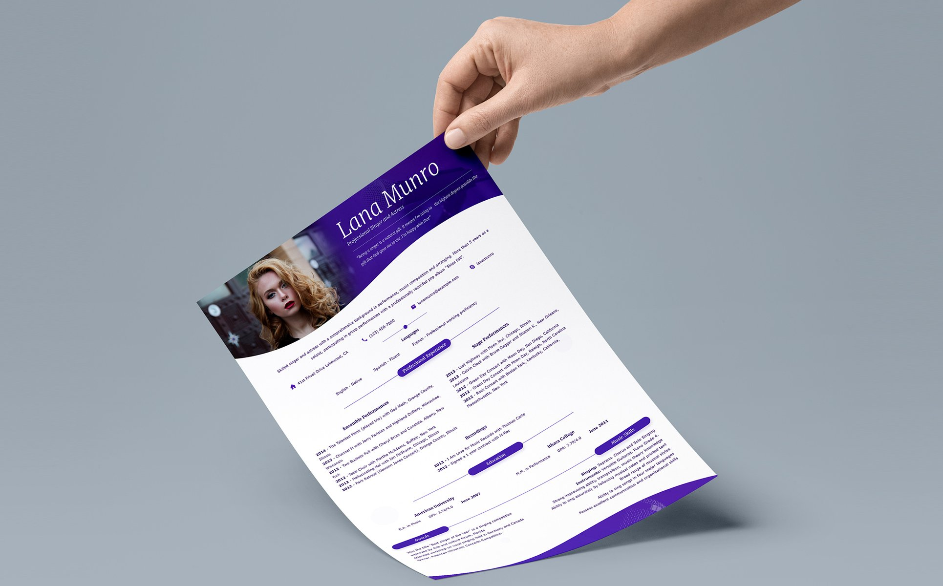 Personal Page Resume Template