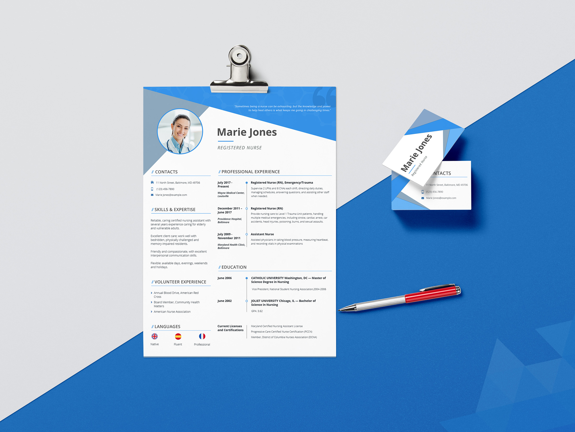 Marie Jones  Professional Nursing And Medical Resume Template