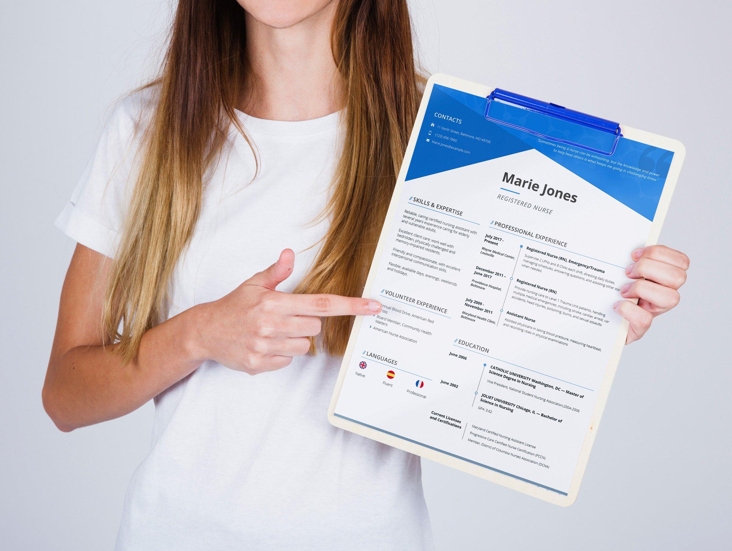 marie jones professional nursing and medical resume template 65233