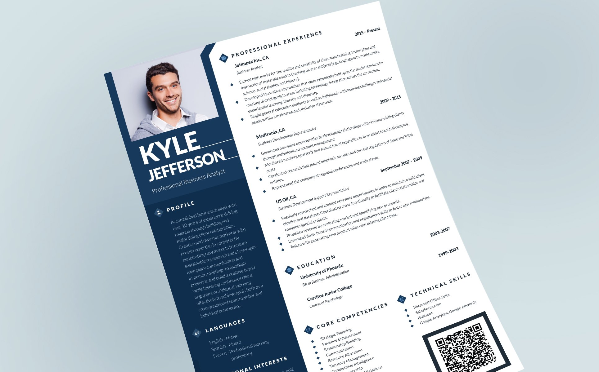 kyle jefferson businessman manager and consultant resume template