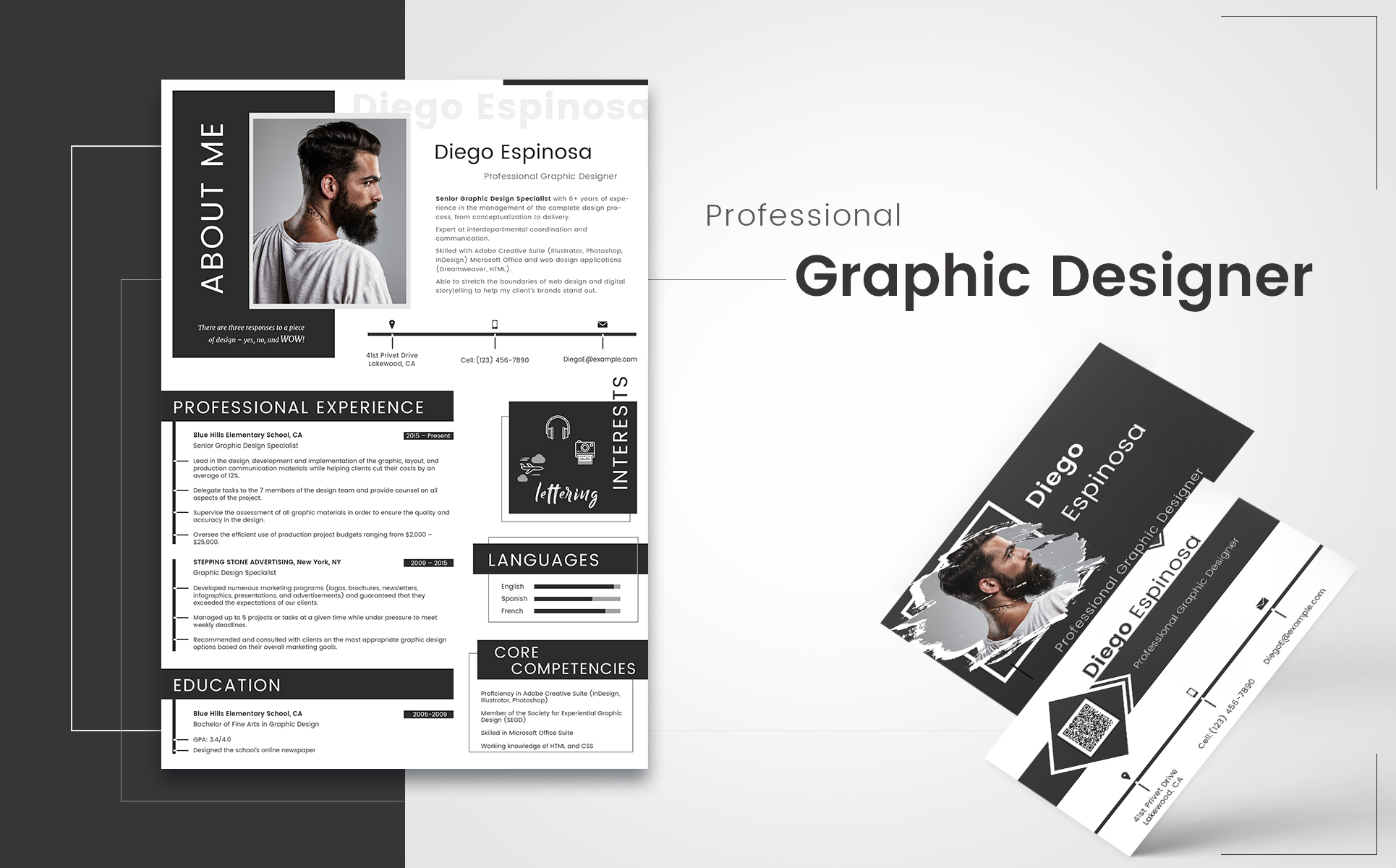 diego espinosa graphic designer resume template big screenshot
