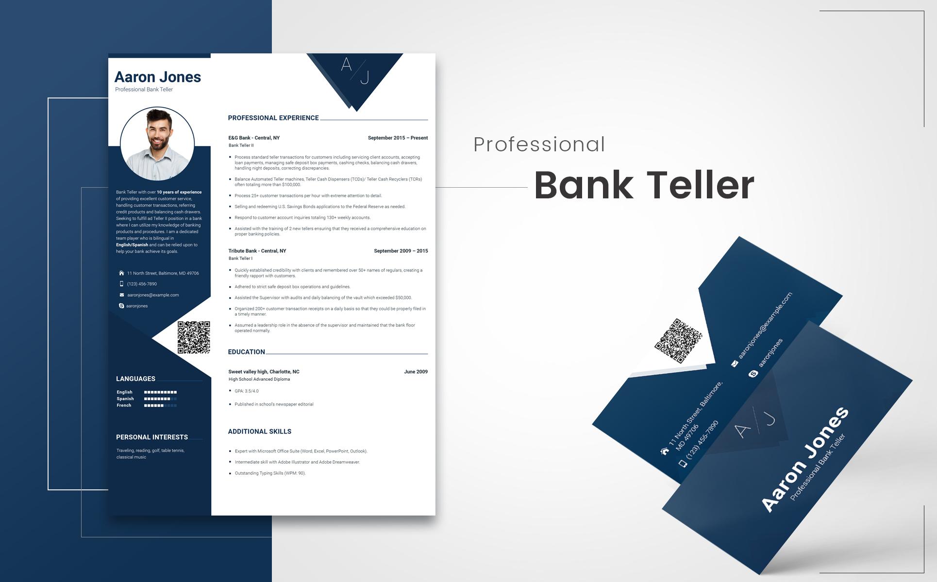 Aaron Jones Bank Teller Resume Template 65242