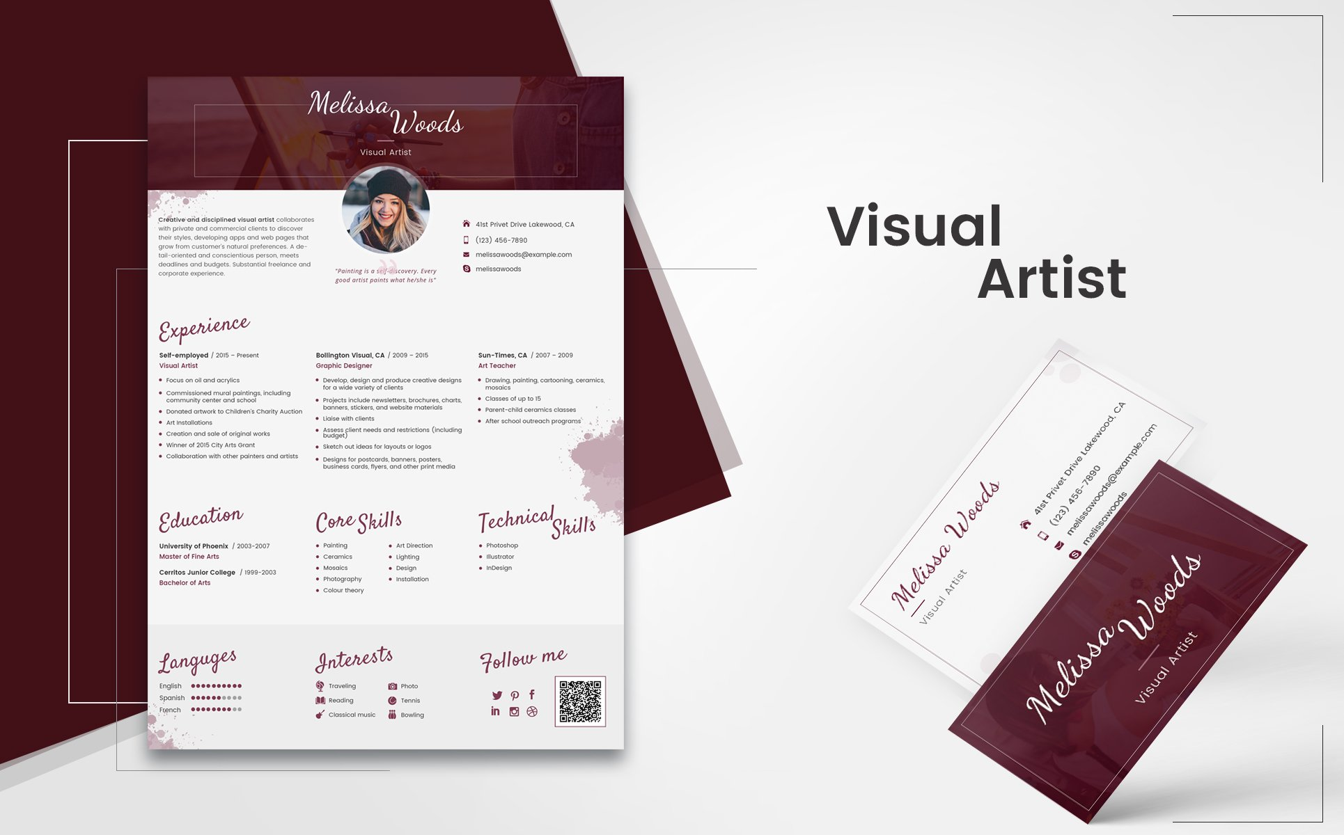 melissa woods visual artist resume template big screenshot - Artist Resume