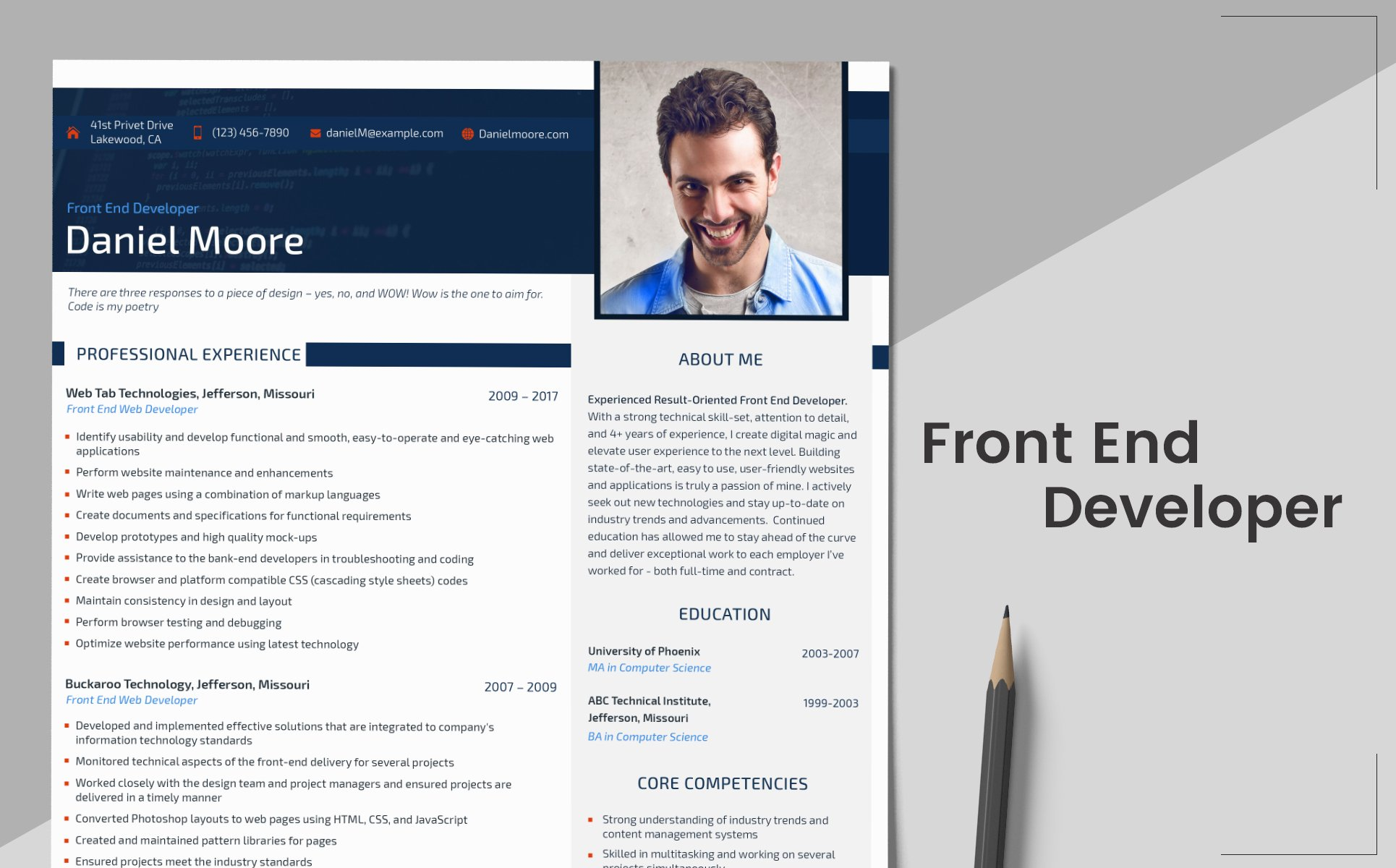 daniel moore front end developer resume template 65245