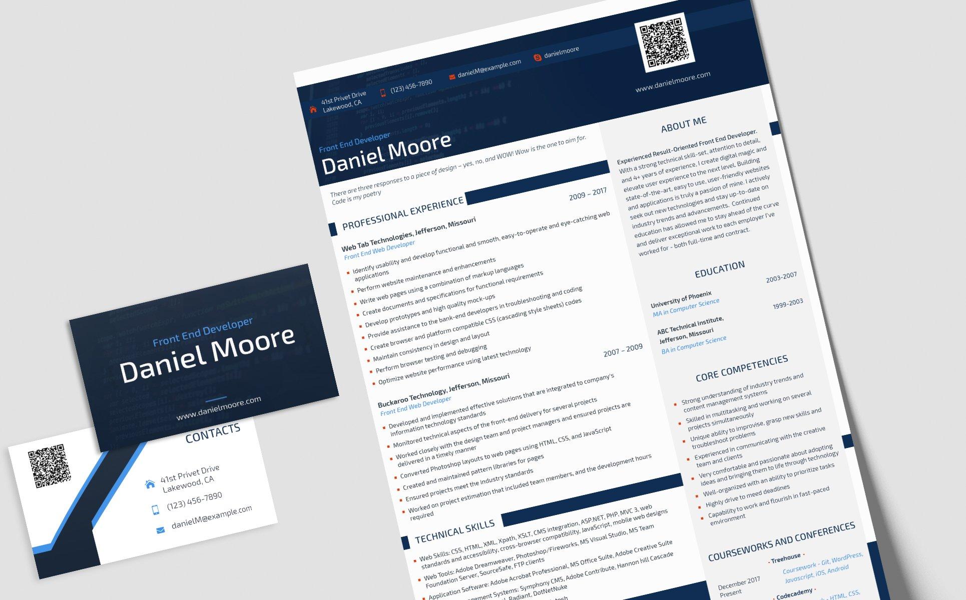 daniel moore front end developer resume template
