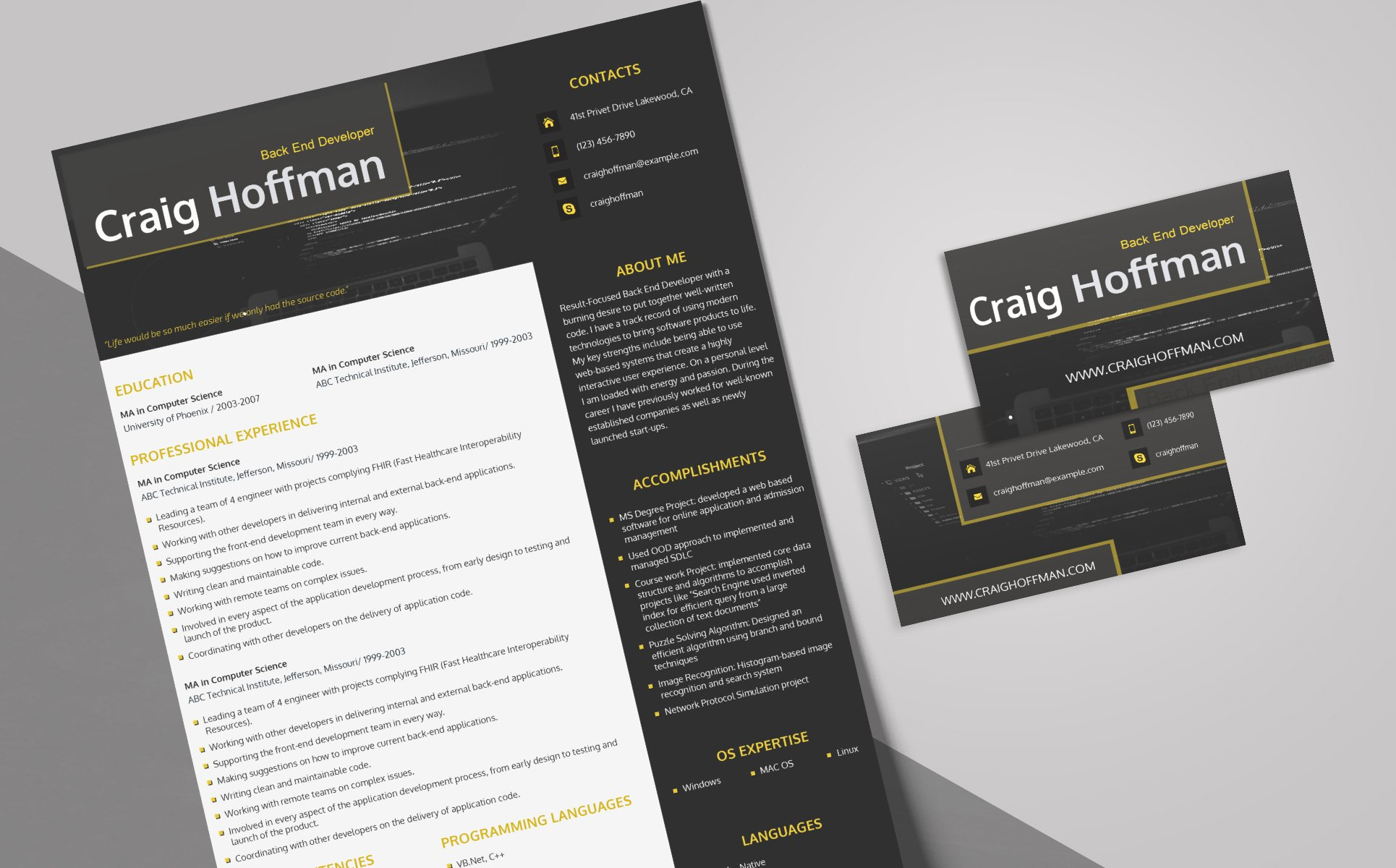 Craig Hoffman  Backend Developer Resume Template