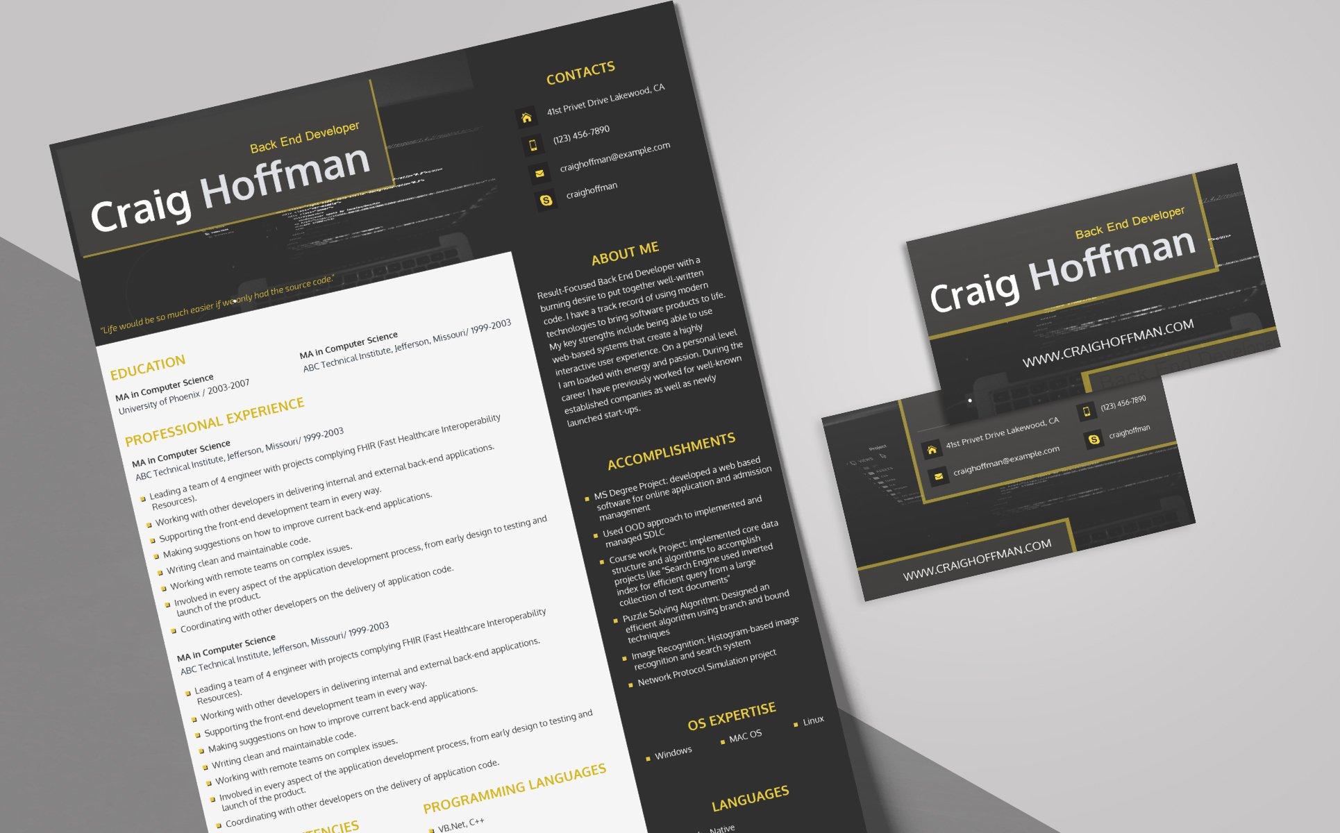 Craig Hoffman  Backend Developer Resume Template
