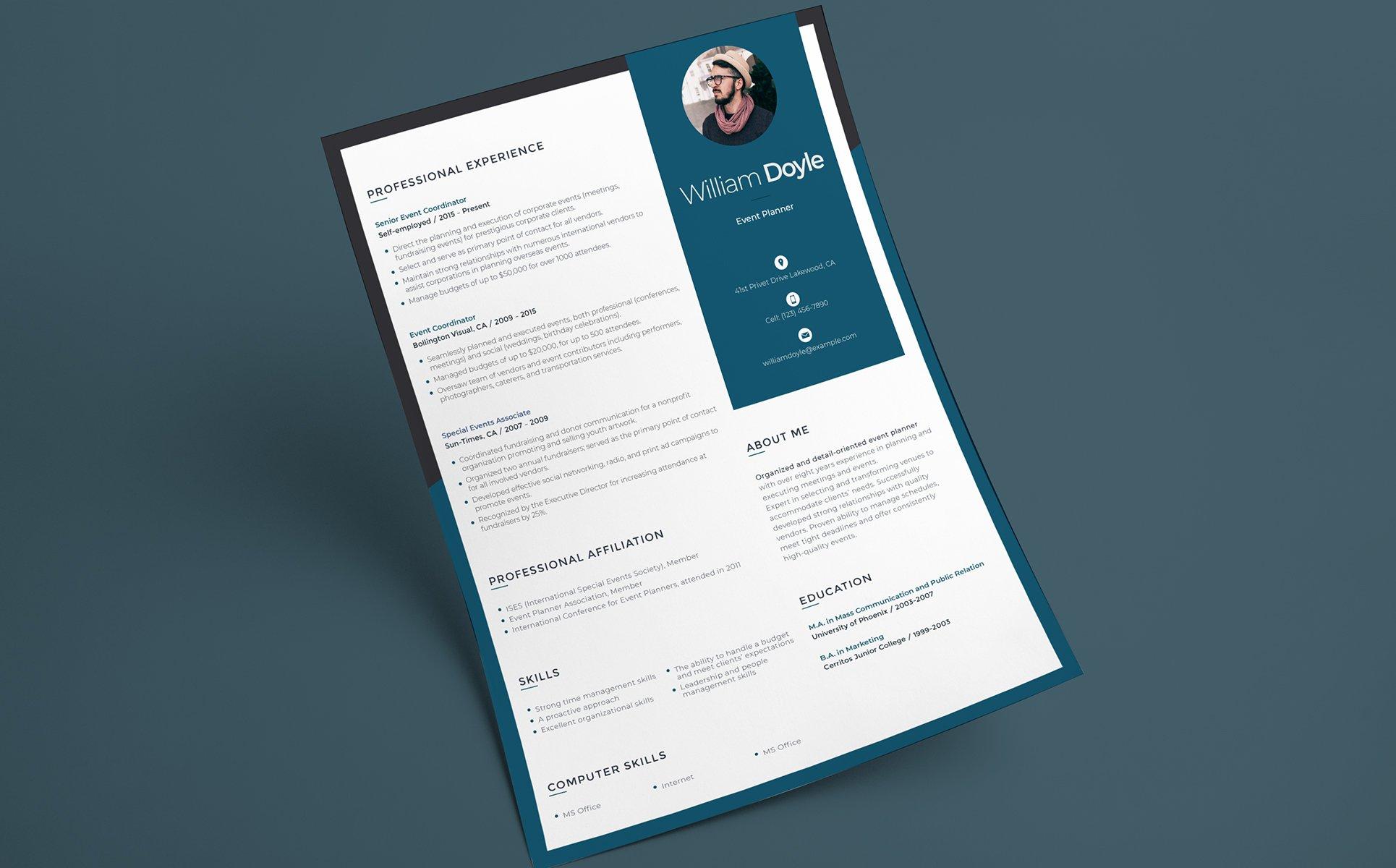 Wiliam Doyle - Event Manager Resume Template #65252