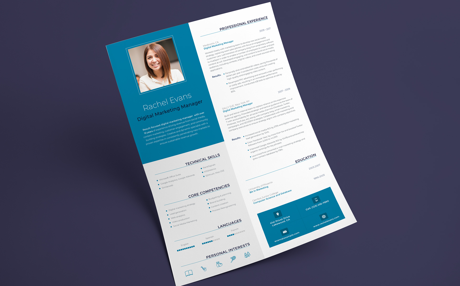 Rachel Evans   Digital Marketing Manager Resume Template Big Screenshot