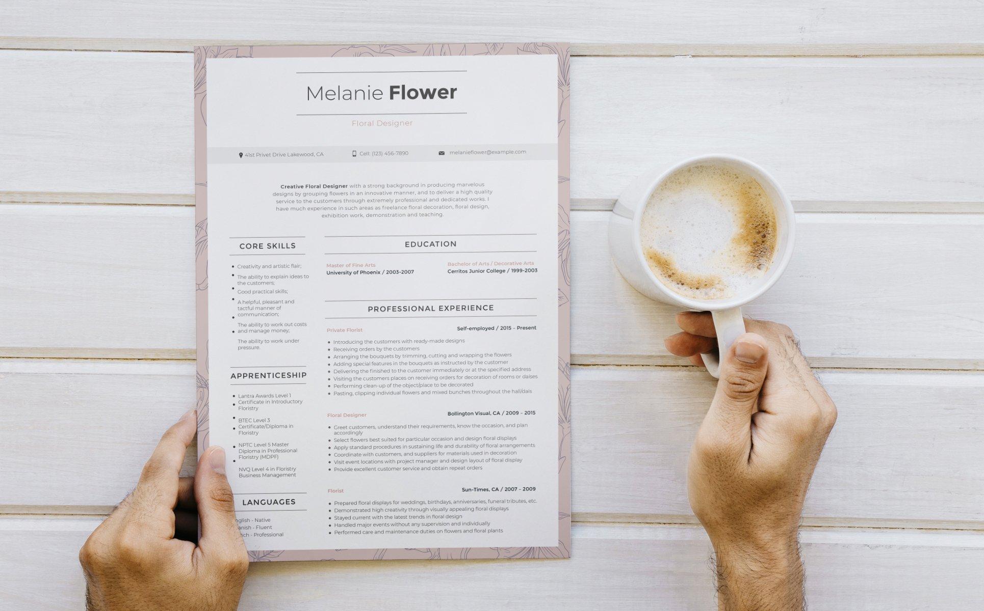 Melanie Flower Floral Designer Resume Template 65256