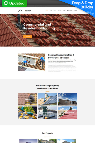 Roofing Company Responsive MotoCMS 3 шаблон