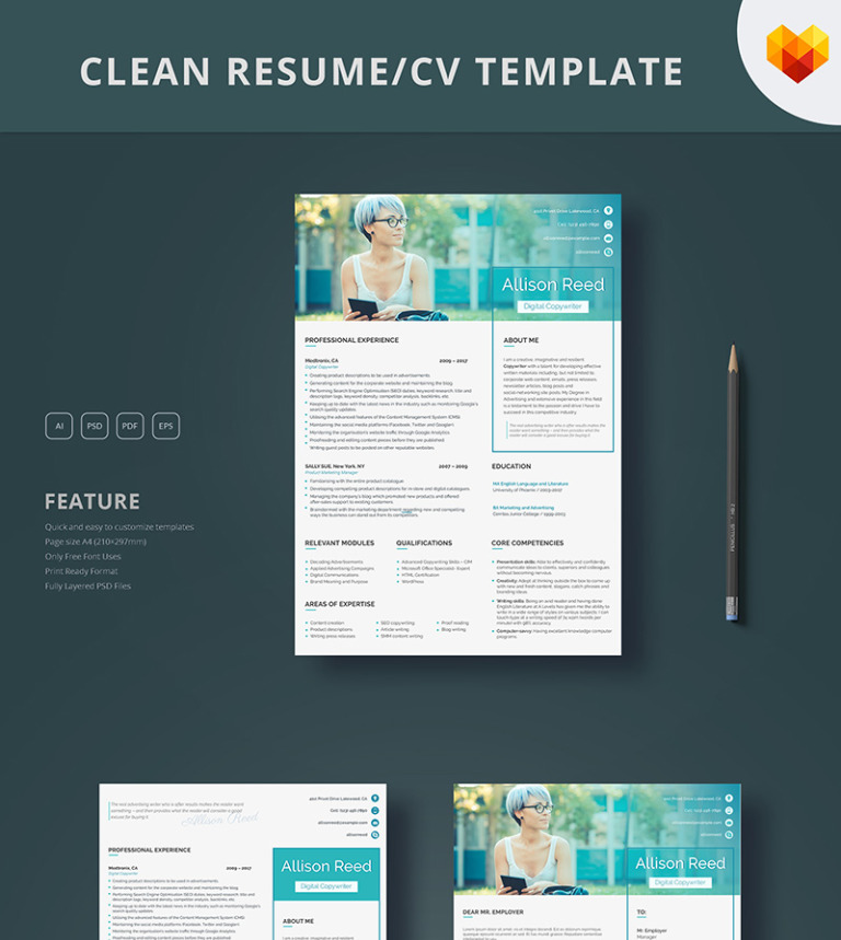 Allison Reed - Copywriter Resume Template #65251
