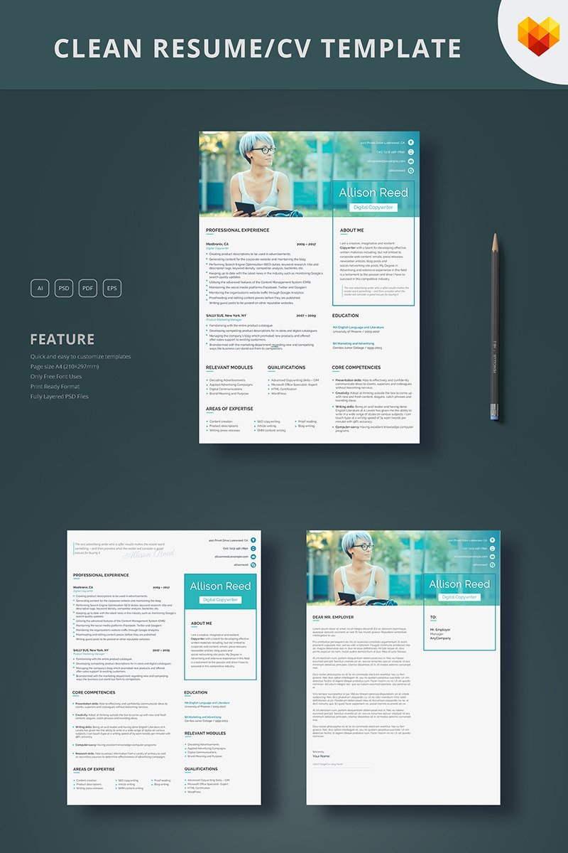 Allison Reed   Copywriter Resume Template Big Screenshot  Copywriter Resume