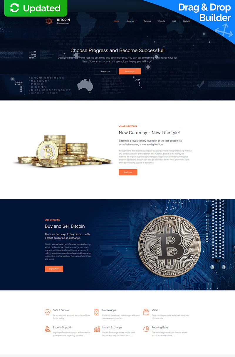 """Bitcoin Company Premium"" - адаптивний MotoCMS 3 шаблон №65295"