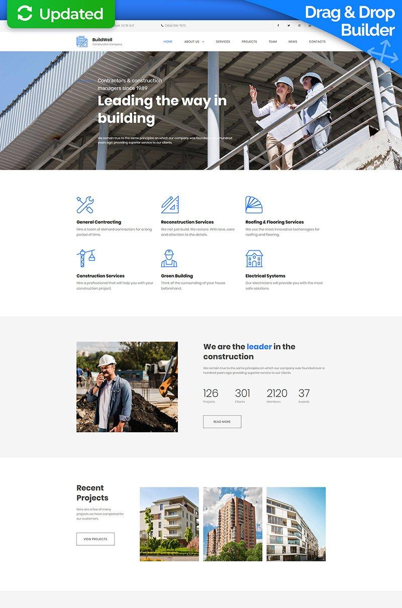 """BuildWell - Construction Company Premium"" modèle Moto CMS 3 adaptatif #65297"