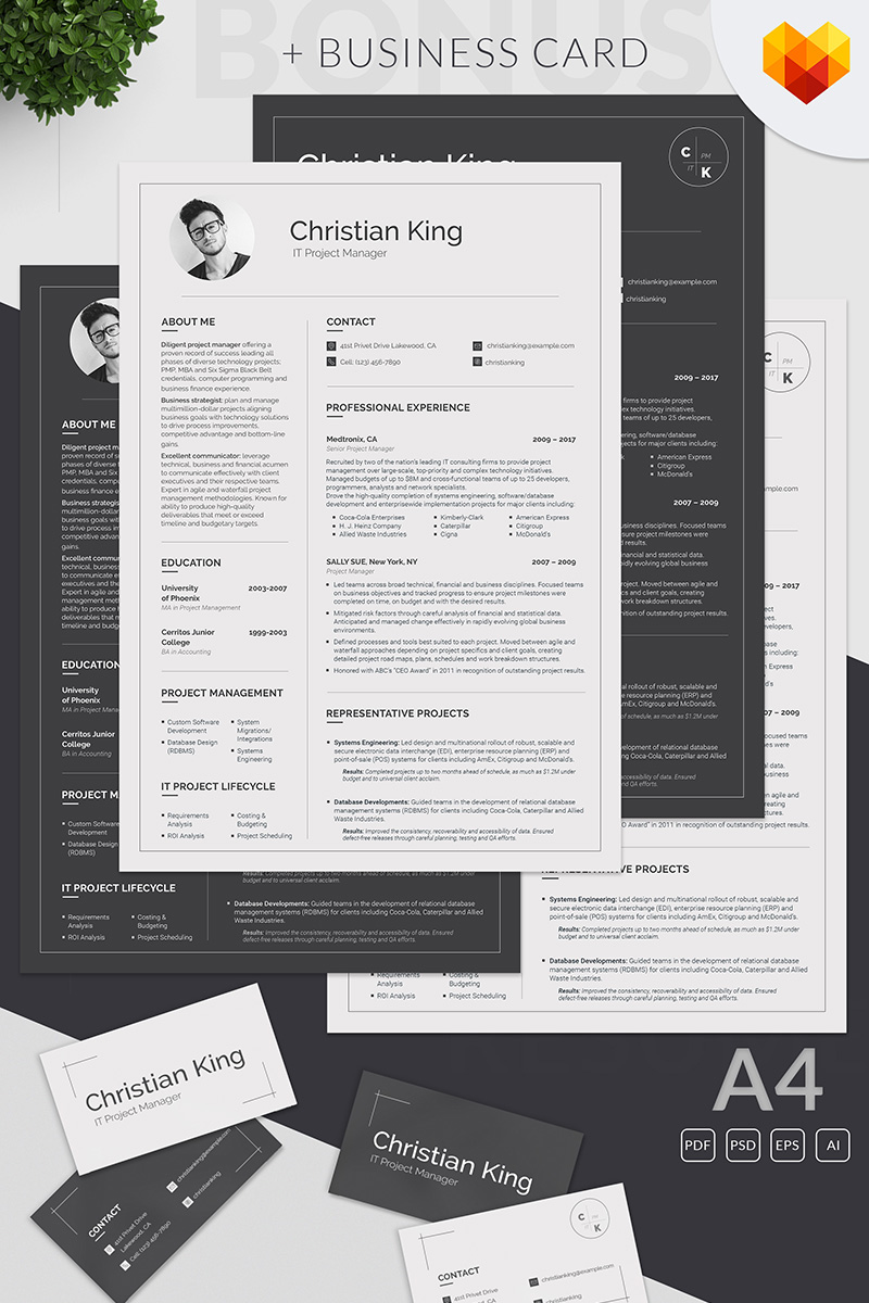 Christian King - Project Manager Resume Template