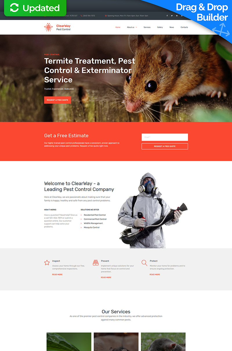 """""""ClearWay - Pest Control Premium"""" Responsive Moto CMS 3 Template №65294"""