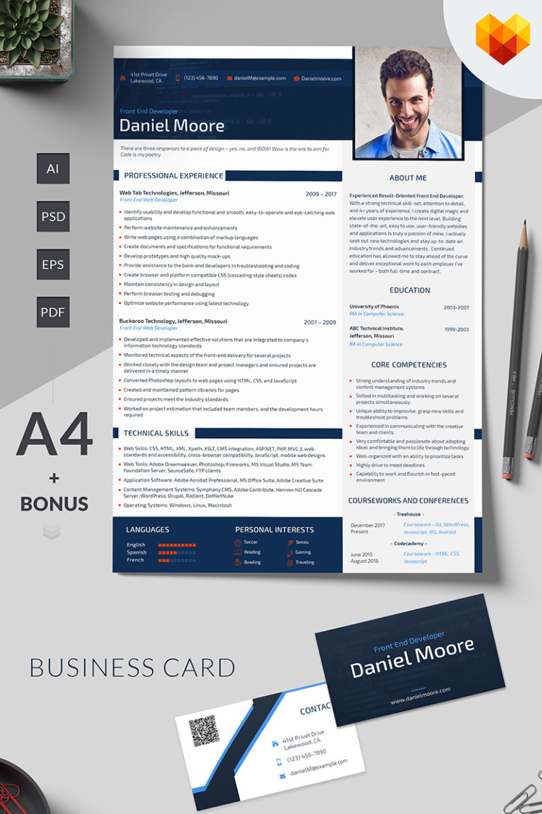 Daniel Moore  Front End Developer Resume Template