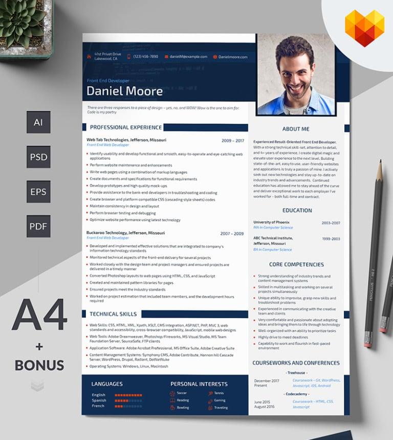 daniel moore front end developer resume template big screenshot