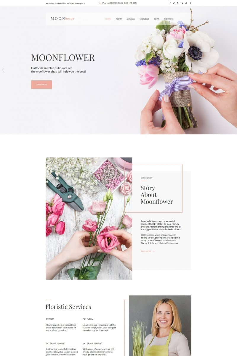 Flowers Moto CMS HTML Template