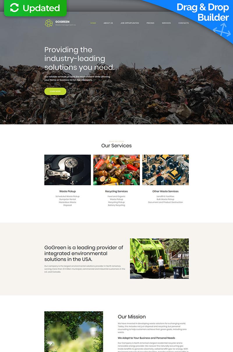 Gogreen - Garbage Services Premium Templates Moto CMS 3 №65291