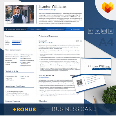 hunter williams human resources manager resume template 65244