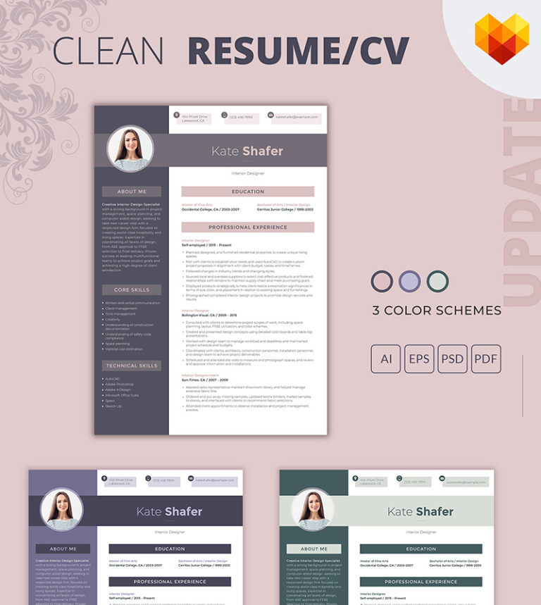 kate shafer interior designer resume template big screenshot