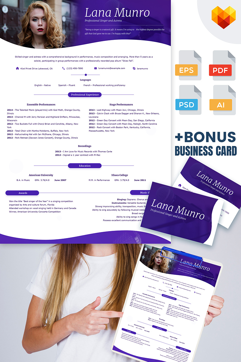 Personal Page Resume Template 65230