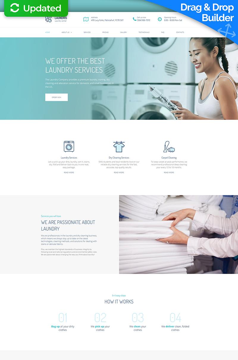 """Laundromats, Laundry and Dry Cleaning Premium"" modèle Moto CMS 3 adaptatif #65299"