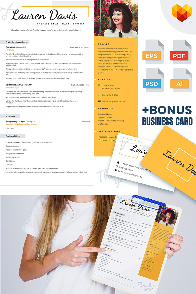 Personal Pages. Lauren Davis Hair Stylist Resume Template#65228