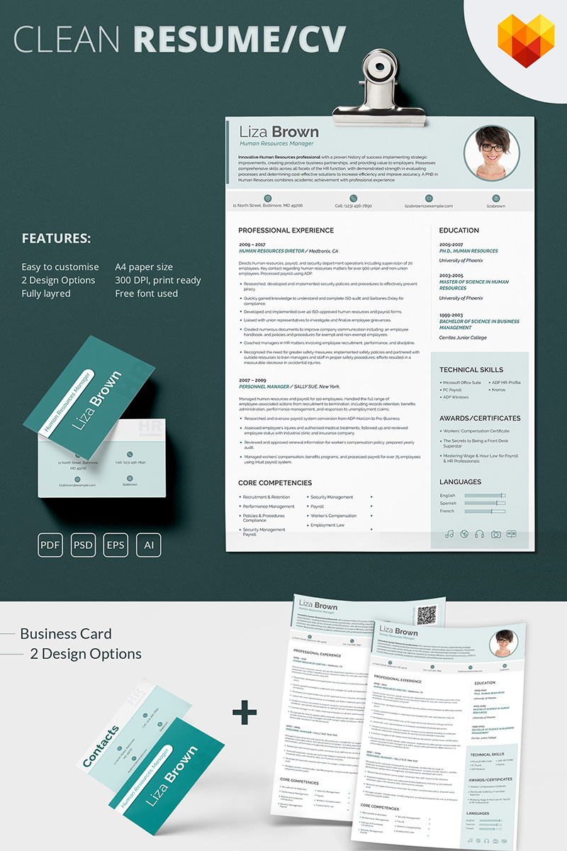 Liza Brown - Human Resources Manager Resume Template - screenshot