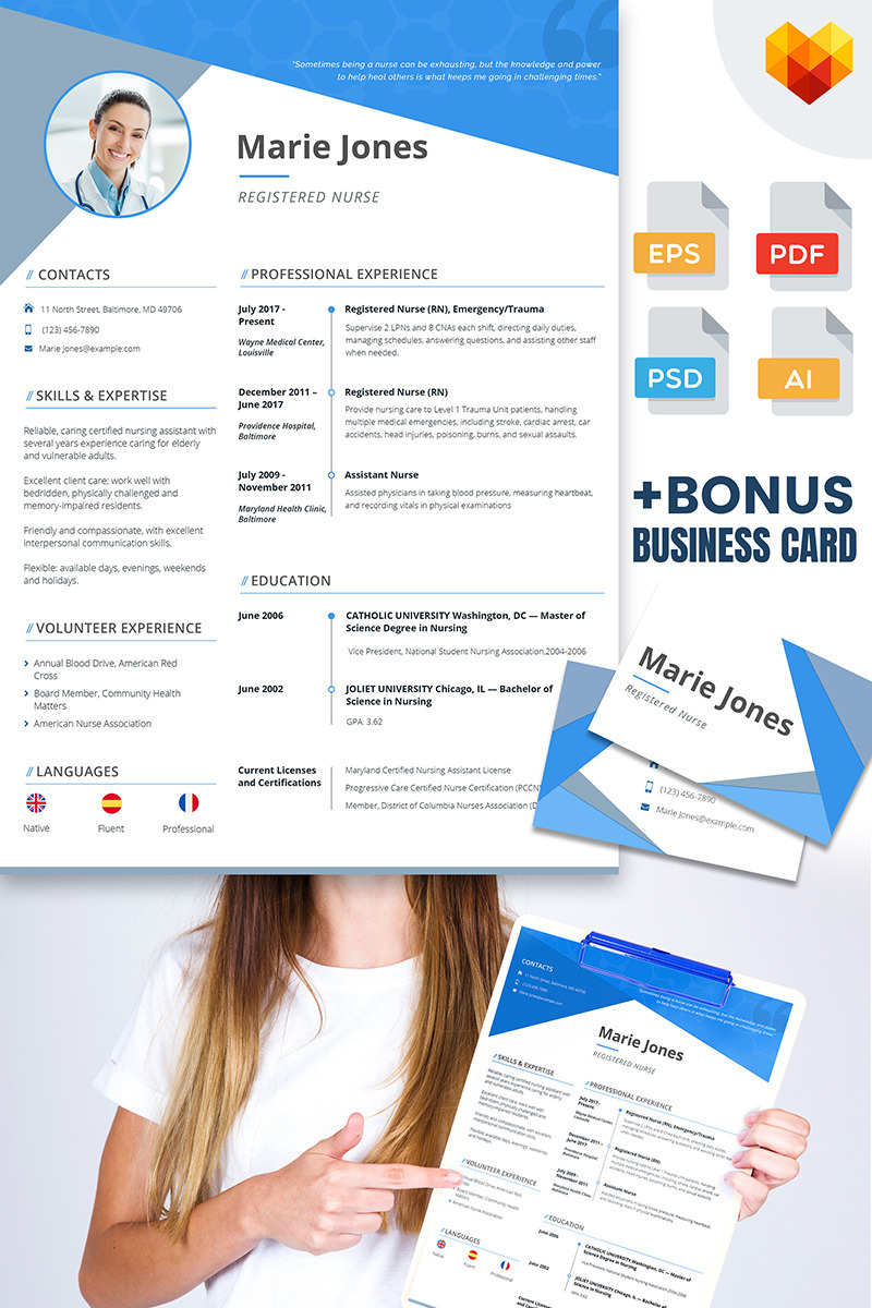Marie Jones   Professional Nursing And Medical Resume Template Big  Screenshot  Medical Resume