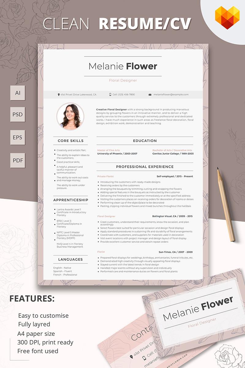 Melanie Flower   Floral Designer Resume Template #65256 Resume Templates  Floral Designer Resume