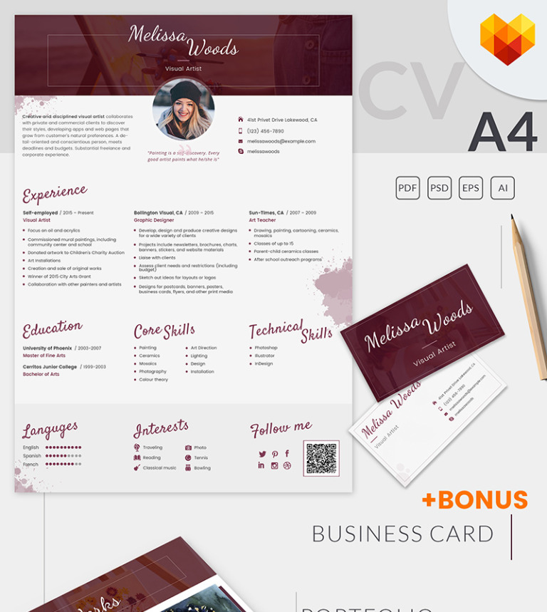 melissa woods visual artist resume template big screenshot - Visual Resume Templates