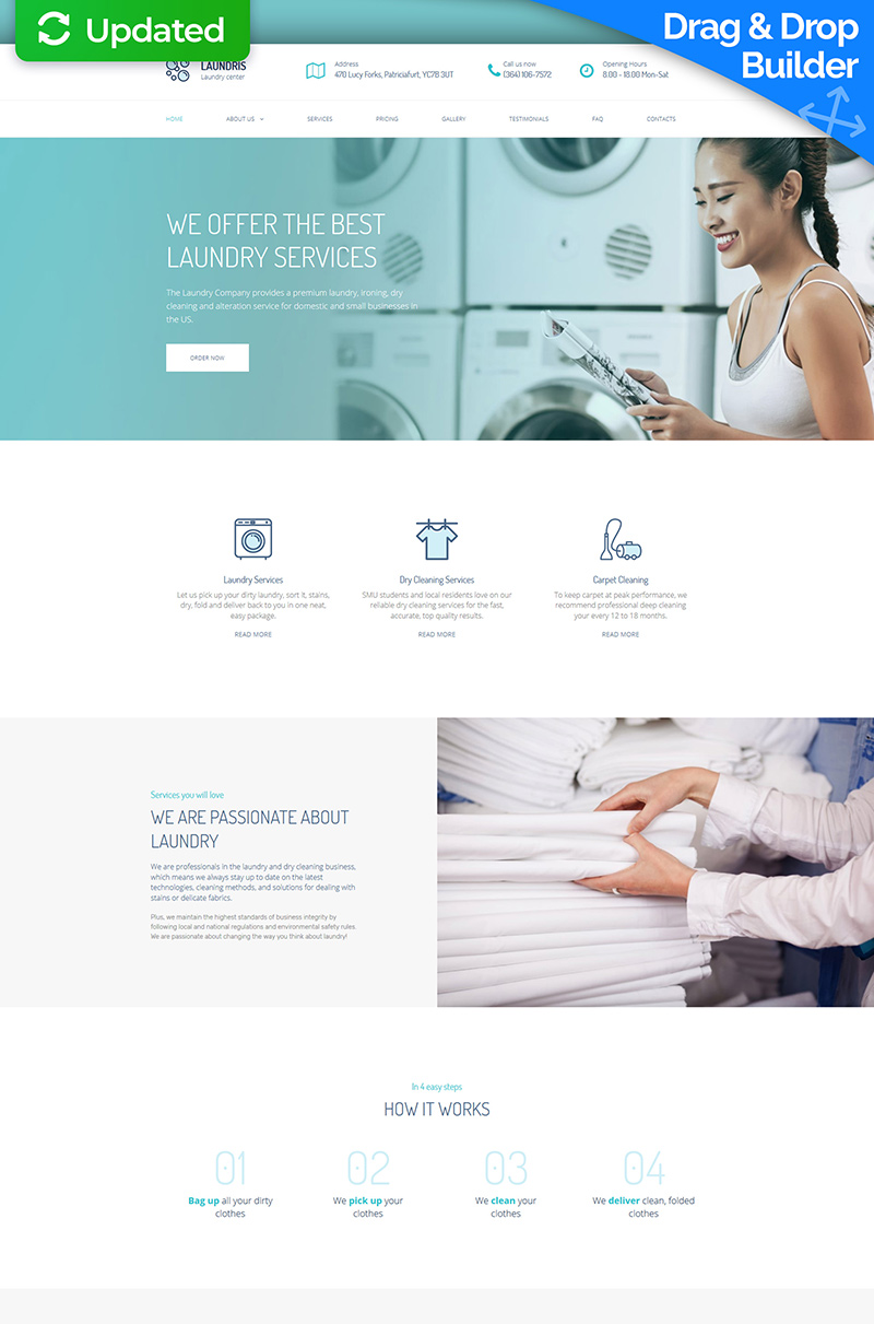 "Moto CMS 3 Template namens ""Laundromats, Laundry and Dry Cleaning Premium"" #65299"