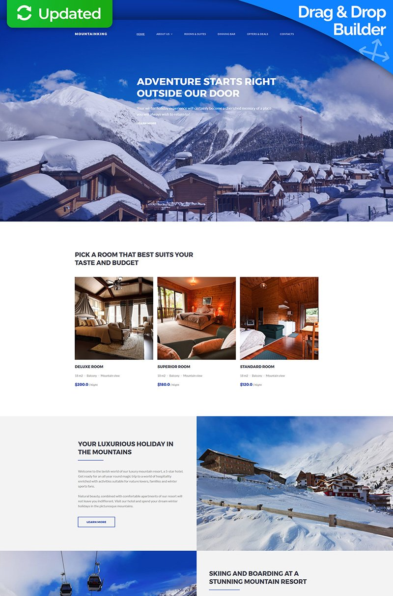 Mountainking - Mountain Hotel Premium Moto CMS 3 Template