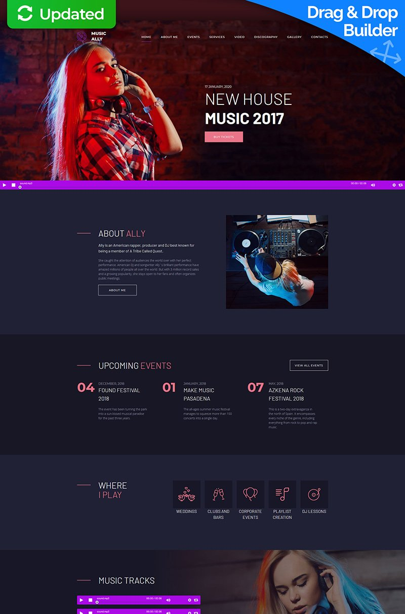 """MusicAlly - DJ Premium"" modèle Moto CMS 3 adaptatif #65298"