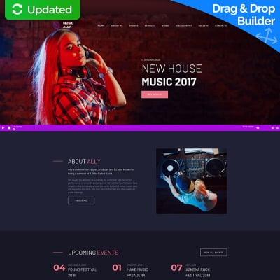 Modèle Moto CMS 3 adaptatif  pour site de DJ
