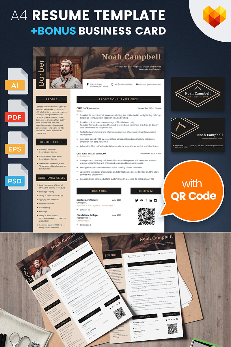 Noah Campbell Barber Haircut And Beard Stylist Resume Template
