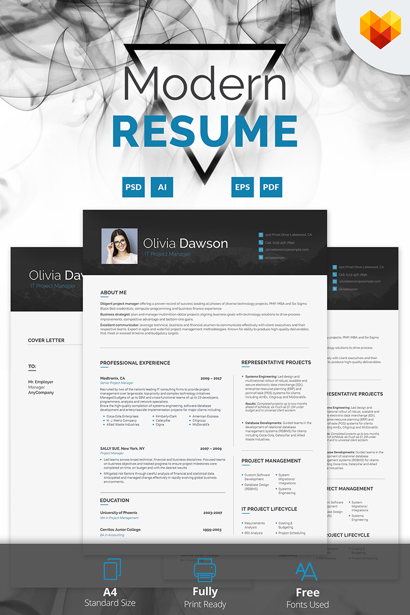 Olivia Dawson  Project Manager Resume Template