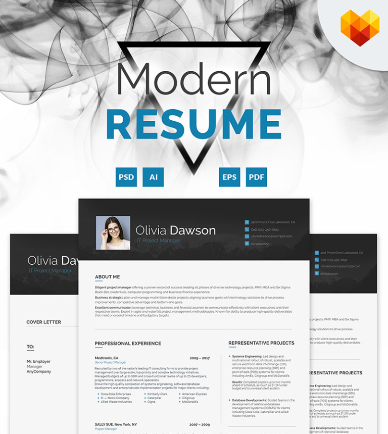 Olivia Dawson - Project Manager Resume Template #65254